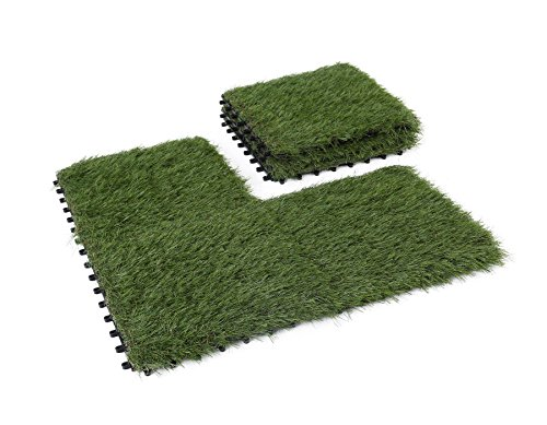 GOLDEN MOON Artificial Grass Turf Tile Interlocking Self-draining Mat, 1x1 ft, 1.5 in Pile Height, 6 Pack ()