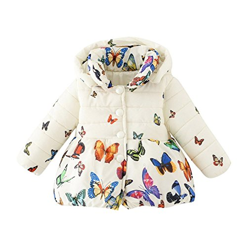(Meetloveyou Winter Baby Girls Hooded Coat Down Button Sweatshirt Kids Fashion Cartoon Butterfly Printed Jacket Outfit White 6M)