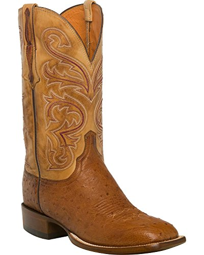 Lucchese Men's Handmade Lance Smooth Ostrich Horseman Boot Square Toe Lt Brown 10 (Smooth Ostrich Boots)