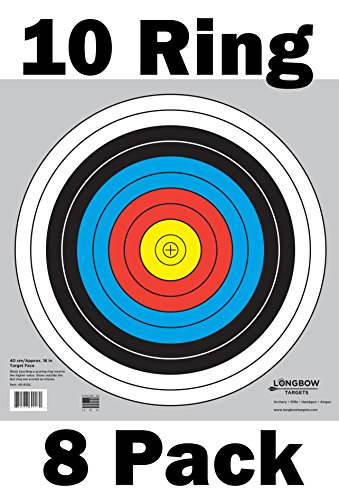 Archery 40cm & 80cm Targets by Longbow (8 Pack, 40cm/approx 17″ (10 Ring))