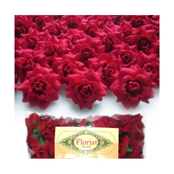 (100) Silk Red Roses Flower Head – 1.75″ – Artificial Flowers Heads Fabric Floral Supplies Wholesale Lot for Wedding Flowers Accessories Make Bridal Hair Clips Headbands Dress
