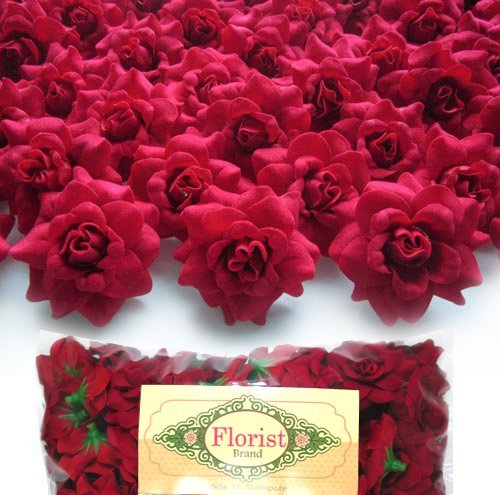 (100) Silk Red Roses Flower Head - 1.75' - Artificial Flowers Heads Fabric Floral Supplies Wholesale Lot for Wedding Flowers Accessories Make Bridal Hair Clips Headbands Dress Florist Brand