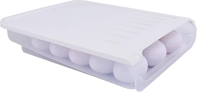 Auto Scrolling Egg Storage Holder Box Egg Refrigerator Container Fridge Food Savers (White)