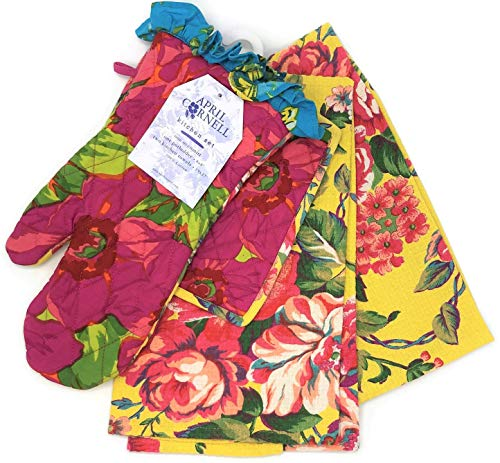 April Cornell Vibrant Fuschia & Yellow Floral Oven Mitt, Potholder, Two Towels Kitchen Set