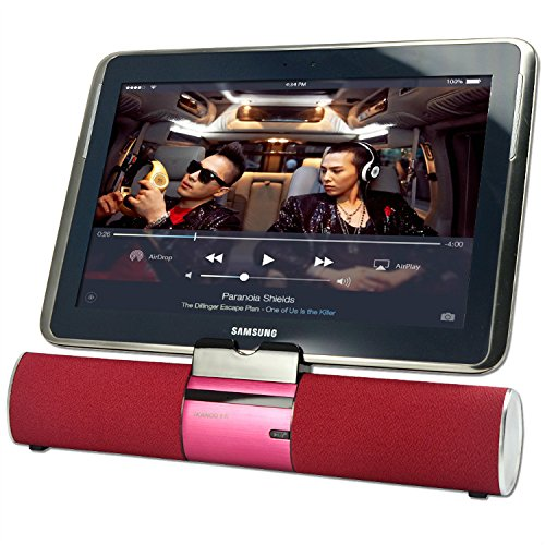 First2savvv LY-F99-08D7 red Portable rechargable wireless bluetooth speaker handsfree desktop stand dock docking station with AUX Jack, perfect for Kindle Paperwhite Voyage Fire HD 6 Fire HD 7 Fire HDX Fire HDX 8.9 MICROSOFT Surface Surface 2 Surface Pro 2 Surface Pro 3 Dell Venue 8 3000 Venue 8 Pro 5000 Venue 11 Pro Venue 11 Pro 7000 ARCHOS 70 Helium HOS 80b Helium 101 Helium 101 Oxygen with orange LED USB light