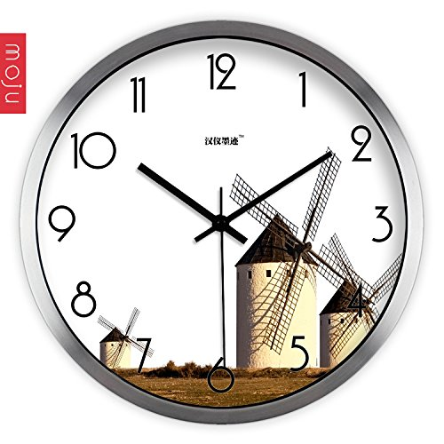 Gyps wall clock Unique and Contemporary Style Wall Clock Silent Wall Clock Non-Ticking Battery Operated Wall Clock Hon-yee Ink Wall Clock Creative Arts, Modern Minimalist Windmills