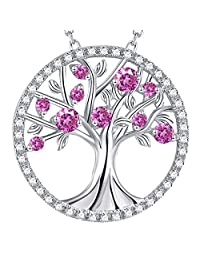 October Birthstone Pink Tourmaline Necklace Birthday Gifts Mom Wife Tree of Life Pendant Sterling Silver Blue Sapphire Blue Topaz Jewelry