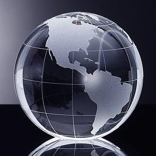 Waltz&F 40mm Crystal Glass Globe Earth with Base Stand,Dia Approx 1.57