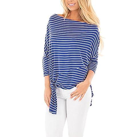 GINVELL Women's Long Sleeve Stripe Pattern T-Shirt Loose Casual Tops - Casual Stripe Pattern Shirts