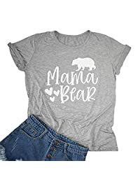 Rdambs Womens Mama Bear T Shirts Summer Short Sleeve Printed Graphics Tees for Mother's Day