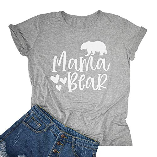 Womens Mama Bear T Shirts Summer Short Sleeve Printed Graphics Tees for Mother's Day (Small) Grey