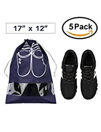 Pack of 5 Portable Dust-proof Breathable Travel Shoe Organizer Bags for Boots, High Heel -- Drawstring, Transparent Window, Space Saving Storage Bags, Large Size, Navy Blue A0069-4