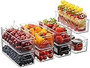 Juego de 8 cubos apilables de plástico para almacenamiento de alimentos – Organizador de refrigerador con asas