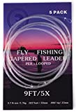 5 Pack- 9' Fly Fishing Tapered Leader with Loop, Size 0X to 7X Available (5X)