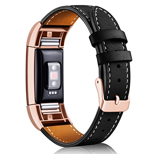 (Hotodeal Band Compatible Fitbit Charge 2 Replacement Bands, Classic Genuine Leather Wristband Metal Connectors, Fitness Strap Women Men Small Large Black & Rosegold)