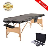 Massage Table Spa, Professional Adjustable Portable Folding Facial Treatment Bed with Carrying Bag and Additional Accessories, Black
