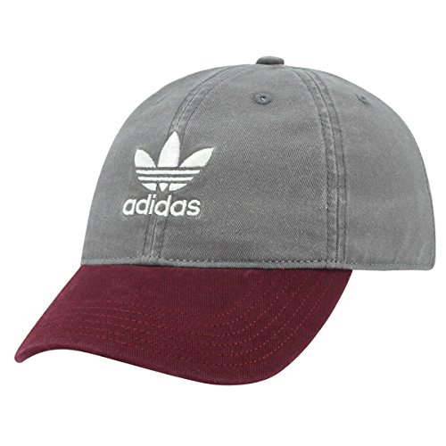 adidas Men's Originals Relaxed Fit Strapback Cap, Grey/Burgundy, One (Womens Adjustable Slouch Cap)