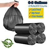 6-8 Gallon/200pcs Trash Bags, Yachee Medium Bathroom Trash can Liners Garbage Bags, Extra Thicken Strong Rubbish Bags for Bedroom Home Kitchen Office Waste Bins (200 Counts/4 Rolls) - Black