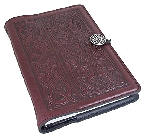 Genuine Leather Refillable Journal Cover + Hardbound Blank Insert | 6x9 Inches | Celtic Hounds, Wine With Pewter Button | Made in the USA by Oberon - Oberon Journal