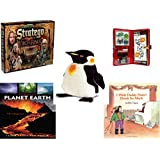 Children's Fun & Educational Gift Bundle - Ages 6-12 [5 Piece] - The Lord of The Rings Stratego Game - Star Wars Storm Trooper Sticker Activity Fun Play Set Toy - Melissa & Doug Penguin Large Plush