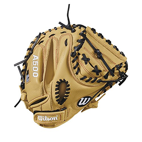 (Wilson 2018 A500 Catcher's Mitts - Right Hand Throw Blonde/Black/Red, 32