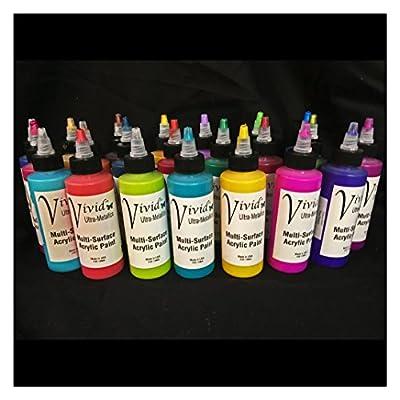 Full Set 25-colors Vivid Utra-Metallics High Gloss Fuild Acrylic 4oz bottles with twist top