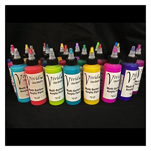 Vivid Ultra-Metallics Acrylic Enamel Black Friday-Cyber-Monday Event 1oz bottles FULL SET 32 colors Black Friday-Cyber-Monday Event by Colourarte