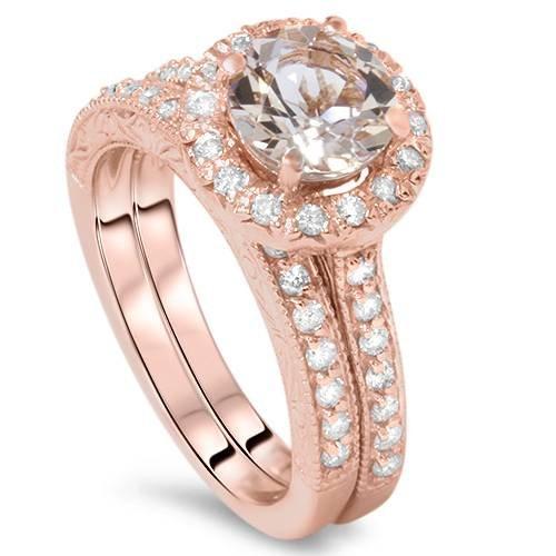 1 7/8CT Vintage Morganite & Diamond Engagement Wedding Ring Set 14K Rose Gold