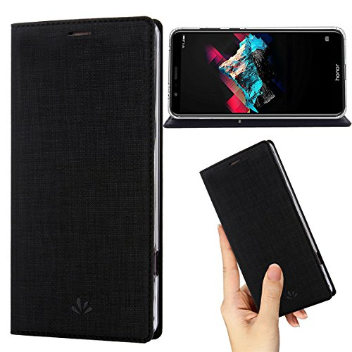 (Honor 7X Case,Premium Flip Leather Wallet Case Stand Kickstand Card Slot Magnetic Closure Full Body Protective Cover Clear TPU Bumper Thin Case for Huawei Honor 7X (Black))