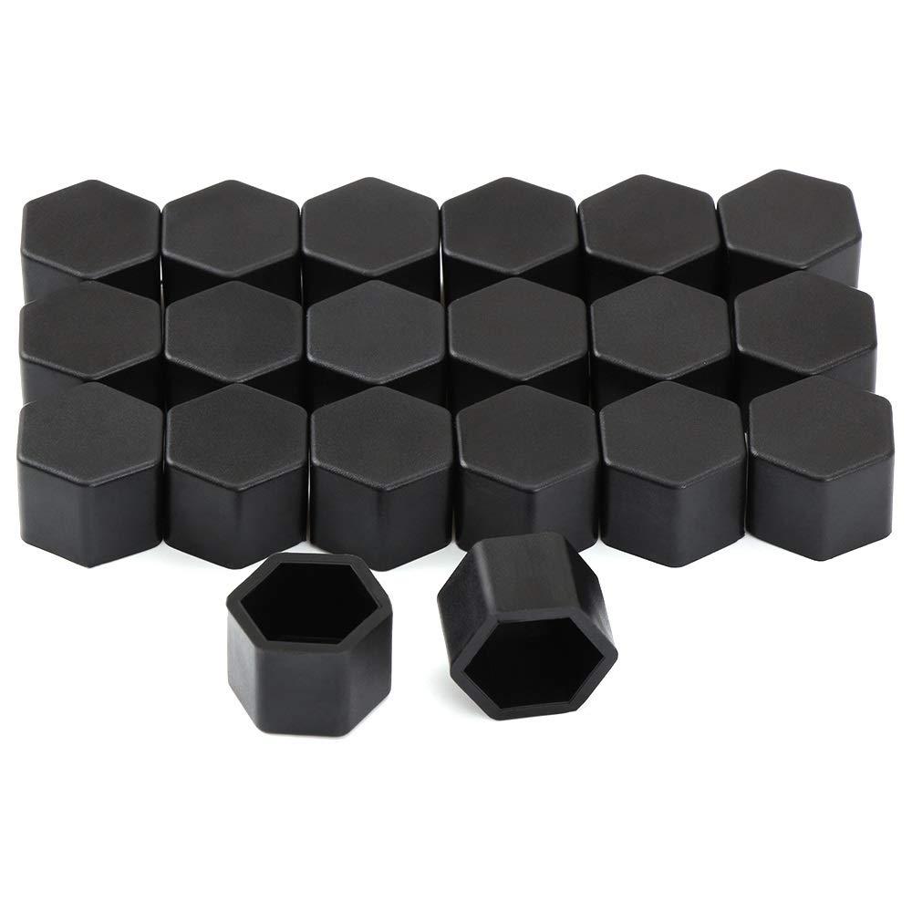 X-xiazhi-luntai 19mm Silicone Voiture Boulon De Capuchon /Écrou De Roue Couverture for dacia plumeau mercedes w203 volvo xc60 Vesta w211 renault megane peugeot 508 Color : Black