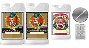 Advanced Nutrients Connoisseur Coco Bloom A & B Liter 4 Liter & Carboload 4 Liter Bundle with Twin Canaries Conversion Chart and 3mL Pipette