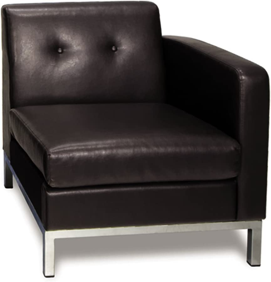 OSP Home Furnishings Wall Street Faux Leather Right Facing Armchair with Chrome Finish Base, Espresso