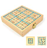 Wooden Adult Desktop Game Sudoku Puzzle Game Board Toys- 4&6&9 Square, 3 in 1 with 320 Questions