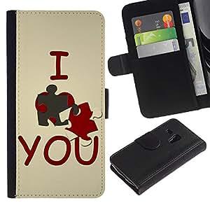 All Phone Most Case / Oferta Especial Cáscara Funda de cuero Monedero Cubierta de proteccion Caso / Wallet Case for Samsung Galaxy S3 MINI 8190 // I love you Cute
