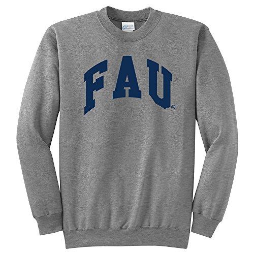 Fau Owls (NCAA Florida Atlantic Owls Arch Classic Crewneck Sweatshirt, Large, Light Heather Grey)
