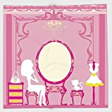 Cotton Microfiber Hand Towel,Girls,Lady Sitting in front of French Cosmetic Make Up Mirror Furniture Dressy Design,Pink Yellow,for Kids, Teens, and Adults,One Side Printing