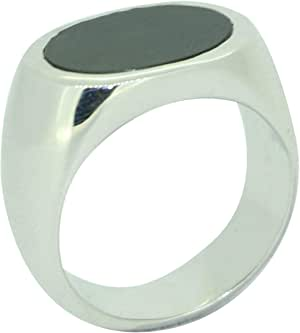 Fashion Ring For Men Silver 925,Inlaid With Zirconia And Onyx,Size 58,RT-89