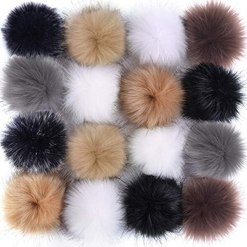 Coopay 16 Pieces Faux Fur Pom Pom Ball DIY Fur Pom Poms for Hats Shoes Scarves Bag Pompoms Keychain Charms Knitting Hat Accessories (Popular Mix Colors)