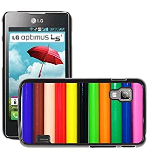 Etui Housse Coque de Protection Cover Rigide pour // M00152836 Colores Lápices de colores Fondo Azul // LG Optimus L5 II Dual E455 / E460