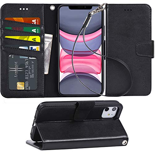 Arae Case for iPhone 11 PU Leather Wallet Case Cover [Stand Feature] with Wrist Strap and [4-Slots] ID&Credit Cards Pocket for iPhone 11 6.1 inch 2019 Released - Black (Best Black Credit Cards 2019)