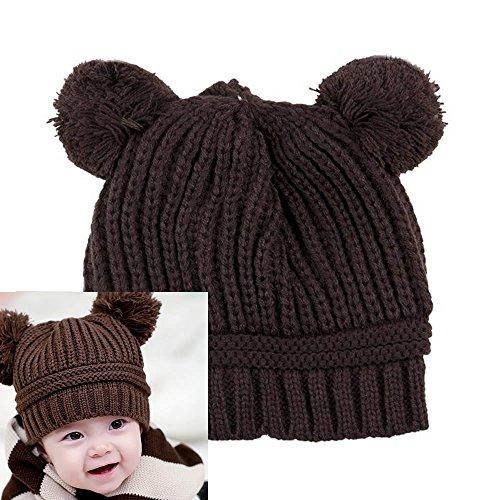 AStorePlus Baby Kids Dual Balls Winter Warm Kintted Hat Wool Beanie Cap, - Narrow Long Face
