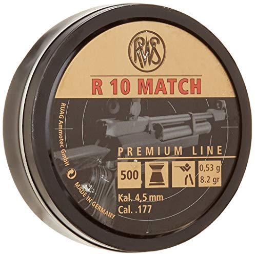RWS R10 Match Plus Premium Line .177 Caliber Pellet Gun Pellets (500 Count), Standard Packaging, Heavy (8.2 ()