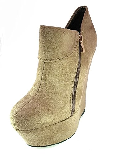 Générique Chaussures Bottes Bottes Bottines Femme Fille Mode Confortable Nouveau Talon Compensé Haut 15 Cm Plateaux 4 Cm Elegant Tg 39 Couleur Khaki Faux Suede