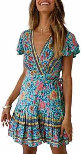 b24dc9a5ff9 Semir Women s Boho Short Sleeve Floral Beach Dress V Neck Ruffle Split  Party Dress