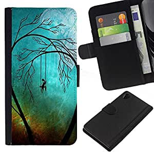 NEECELL GIFT forCITY // Billetera de cuero Caso Cubierta de protección Carcasa / Leather Wallet Case for Sony Xperia Z2 D6502 // Sad Trees Goth