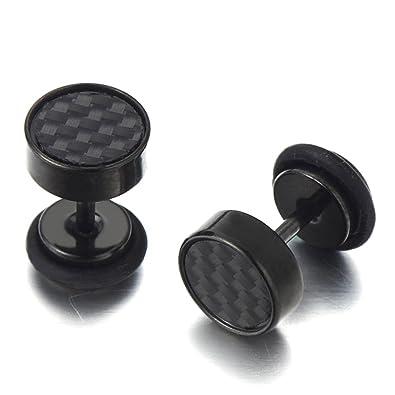 10MM 2 Negro Enchufe Falso Fake Plug, Pendientes de Hombre, Aretes, Acero Inoxidable, con Carbono Fibra: Amazon.es: Joyería