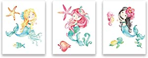 Mermaid Cartoon Art Print Fish Wall Picture Turtle Poster Seaweed Painting For Girls Bedroom Decor Set of 3 Unframed 8x10 Inch