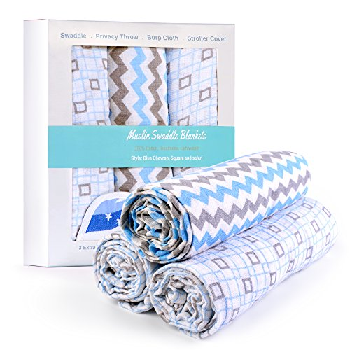 Baby Boy Swaddle Blanket Muslin 100% Premium Organic Cotton Extra Large - Free Pack + Special FREE Teething Bib included - Best Baby Shower Present