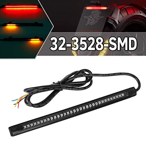 Partsam Universal LED Strip for Motorcycle License Plate Tail Brake Stop Turn Signal Light Strip 32LED 8