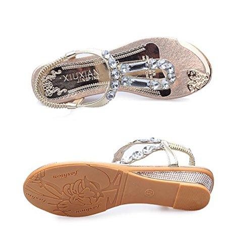 YOUJIA Mujer Thong Sandalias Casual Sandalias Plana Zapatos Sandalias De Diamante De Imitación Gold